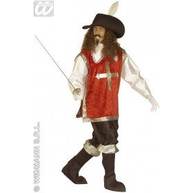 Musketeer Costume Red/Grn/Blue Fancy Dress Costume Mens (Musketeers)