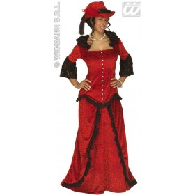 Western Lady Costume Adult Red Velvet Costume Ladies (Cowboys/Indians)