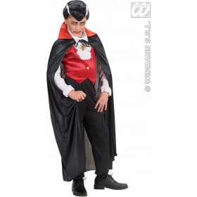 Black Capes W/Red Collar Child 110Cm - Fancy Dress Boys (Halloween)