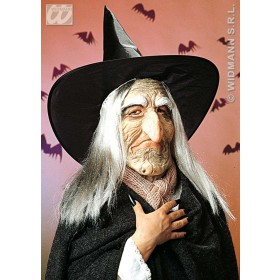 Witch Mask W/Hat & Hair - Fancy Dress (Halloween)