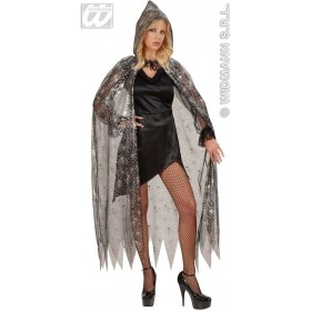 Hooded Spiderweb Cape Fancy Dress Costume (Halloween)