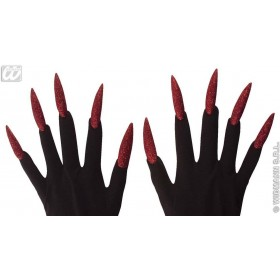 Scary Gloves W/Maxi Glitter Nails - Fancy Dress (Halloween)