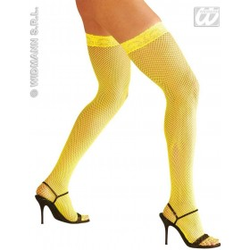 Neon Lace Top Fishnets Thigh High - Fancy Dress