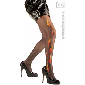 Tights Glitter Flames Black - Fancy Dress