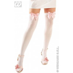 White Thigh Highs W/Ribbons - Fancy Dress