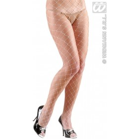 Pantyhose Wide Fishnet - White - Fancy Dress