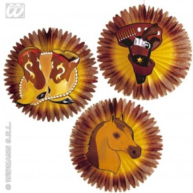 Western Paper Fans 55Cm - Fancy Dress
