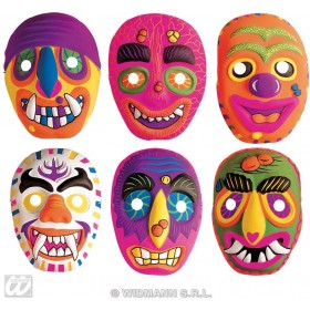 Plastic Neon Mask 6 Styles - 1 Supplied - Fancy Dress