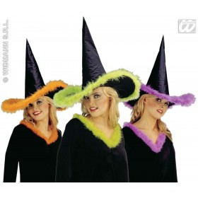 Witch Hat Marabou Trim - Fancy Dress (Halloween)