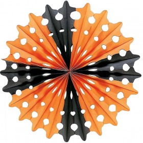 Halloween Paper Fan Blk/Orange 55Cm - Fancy Dress (Halloween)