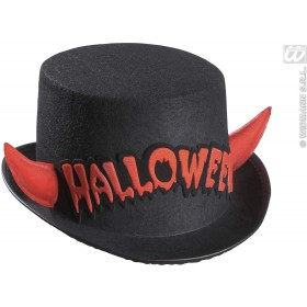 Felt Hall. Top Hat +Red Refl. Horns - Fancy Dress