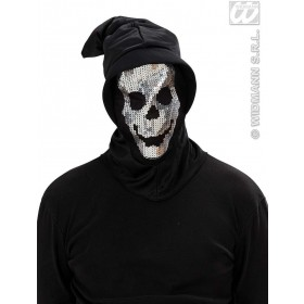 Sequin Skull Hooded Masks - Fancy Dress