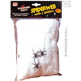 Spider Web 50G W/3 Spiders - Fancy Dress (Halloween)