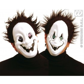 Ghost Face Mask W/Hair Holog Eyes 2 Styles, Fancy Dress (Halloween)