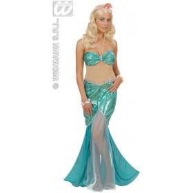 Mermaid - Dress, Pearl Neckl., Headb.W/Pearls Costume
