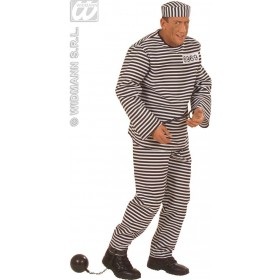 Convict Costume Adult Heavy Fabric Fancy Dress Costume (Cops/Robbers)