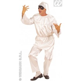 Satin Pulcinella With Coat, Pants, Hat Fancy Dress Mens (Clowns)