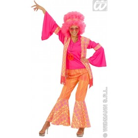 Hippie Woman Orange/Pink Adult Fancy Dress Costume (1960S)