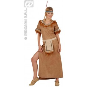 Mohawk Indian Girl Suedelook Fancy Dress Costume Ladies (Cowboys/Indians)