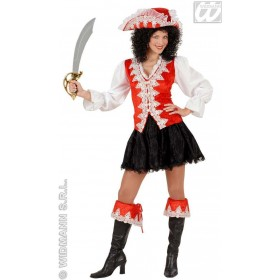 Regal Pirate Lady Velvet, Red Fancy Dress Costume (Pirates)