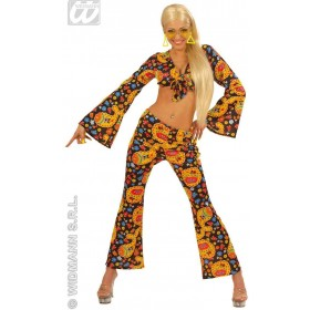 70S Hip Chick With Tie, Top, Pants Fancy Dress Costume (1970S)