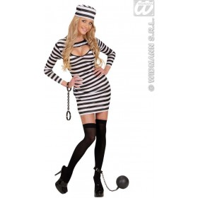 Jailbird With Dress, Hat Fancy Dress Costume Ladies (Cops/Robbers)