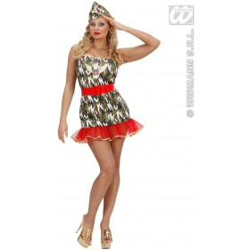 Lycra Army Girl Fancy Dress Costume Ladies (Army)