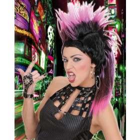 Bicolor Punk Crest Wigs W/Ponytail 6 Col - Fancy Dress