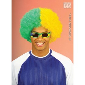 Two-Tone Curly Wig - Green/Yellow Fancy Dress