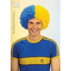Two-Tone Curly Wig - Blue/Yellow Fancy Dress