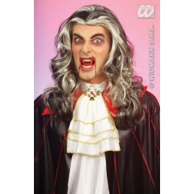 Vampire Wig Blk/White In Polybag - Fancy Dress (Halloween)