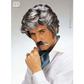 Casanova Wig W/Moustache Grey - Fancy Dress