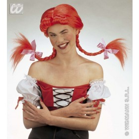 Naughty Girl Wig Bendable Plaits Red - Fancy Dress