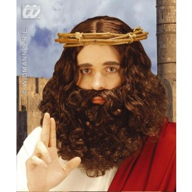 Jesus Wig & Beard Set Brown - Fancy Dress (Animals)