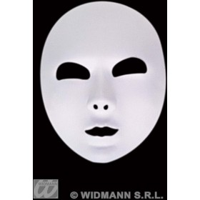 Mask White Fabric Full Face - Fancy Dress