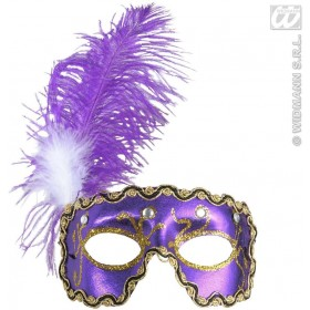 Purple Eyemask With 4 Gems & Feathers - Fancy Dress