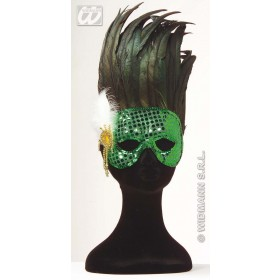 Paris Sequin Mask W/Feather 6 Cols - Fancy Dress