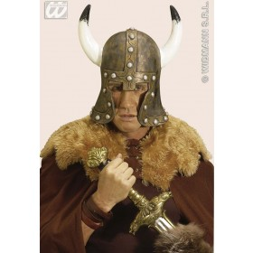 Latex Barbarian Helmet W/Horns Bronze - Fancy Dress (Viking)