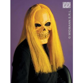 Skull Mask W/Wig 4Cols Assorted - Fancy Dress