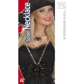 Black Strass Spider Necklace - Fancy Dress (Halloween)