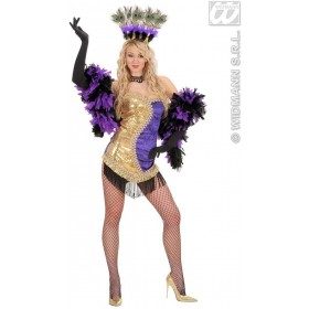 Gold/Purple Vegas Showgirl Fancy Dress Costume Ladies (Cultures)