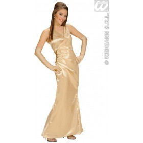 Satin Gold Celebrity With Dress-Gloves Fancy Dress