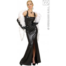 Stretch Fab.Black Cocktail Dress - Dress-Gloves Costume