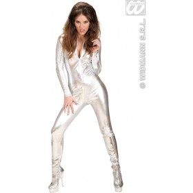 Stretch Fabric Silver Catsuit Fancy Dress Costume