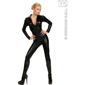 Stretch Fabric Black Catsuit Fancy Dress Costume Ladies