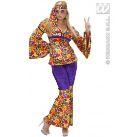 Velvet Hippie Girl Fancy Dress Costume Ladies (1960S)