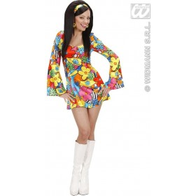 Flower Power Girl Fancy Dress Costume Ladies (1960S)