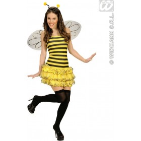 Bee Dress W/Wings Antenna Fancy Dress Costume Ladies (Animals)
