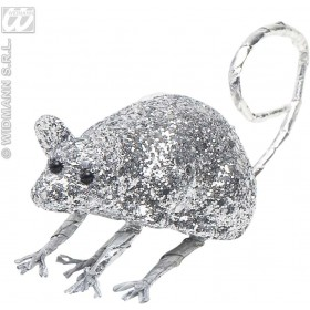 Silver Glitter Mice 9Cm - Fancy Dress (Halloween)
