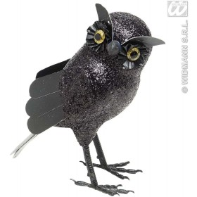 Black Glitter Owls 19Cm - Fancy Dress (Halloween)